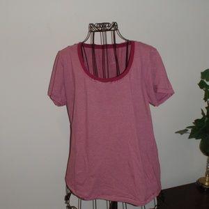 Austin pink stripe tee shirt.